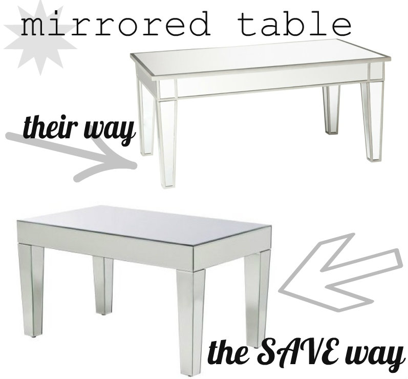 cheap mirrored coffee table lucky girl finds. Black Bedroom Furniture Sets. Home Design Ideas